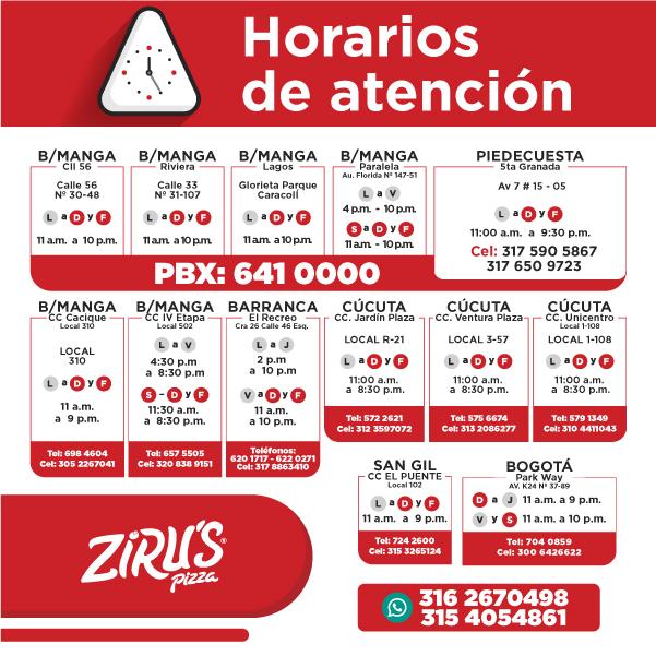 Horarios de atención - Zirus